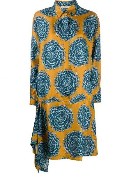 Синее шелковое платье на пуговицах с драпировкой Odeeh