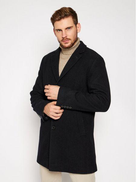 Czarny płaszcz wełniany Pierre Cardin