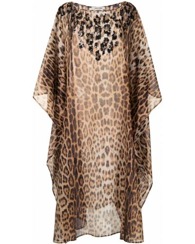 Шелковое платье миди трапеция с пайетками Roberto Cavalli