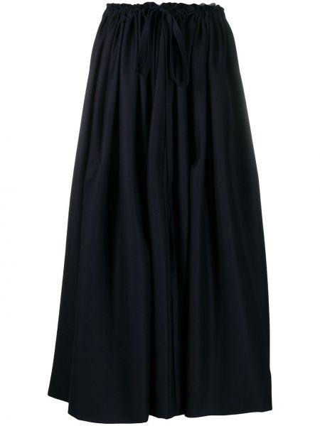 Расклешенная синяя с завышенной талией юбка с драпировкой Daniela Gregis