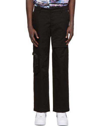 Czarne spodnie z paskiem bawełniane Rochambeau