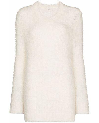 Белый вязаный свитер с медведем оверсайз R13