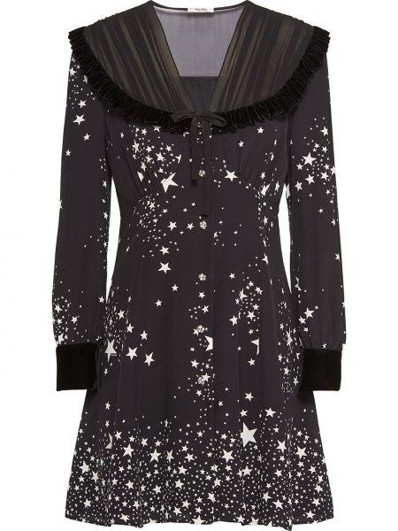 Платье на пуговицах с V-образным вырезом Miu Miu