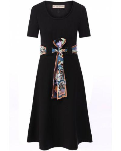 Платье с поясом с вырезом шерстяное Emilio Pucci