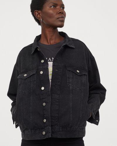 Джинсовая куртка оверсайз - черная H&m