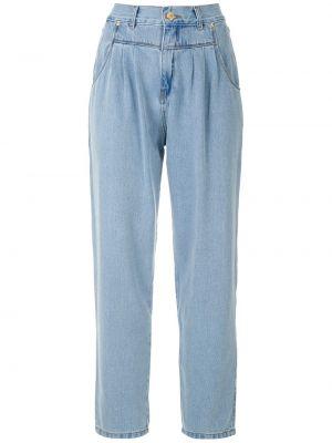 Хлопковые синие прямые джинсы на пуговицах со складками Amapô