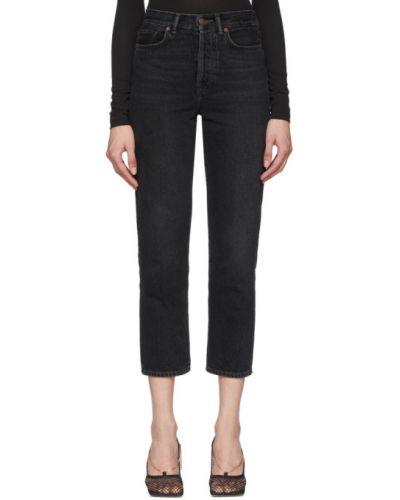 Czarny jeansy na wysokości z kieszeniami z łatami zabytkowe Acne Studios