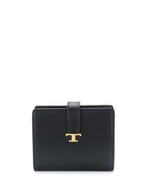 Золотистый кожаный черный кошелек для монет Tod's
