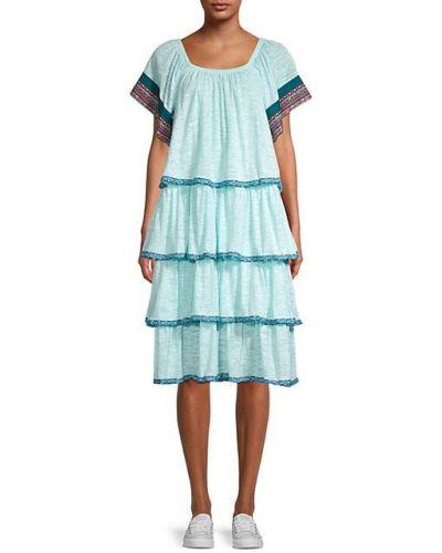 Хлопковое платье бохо с короткими рукавами Pitusa