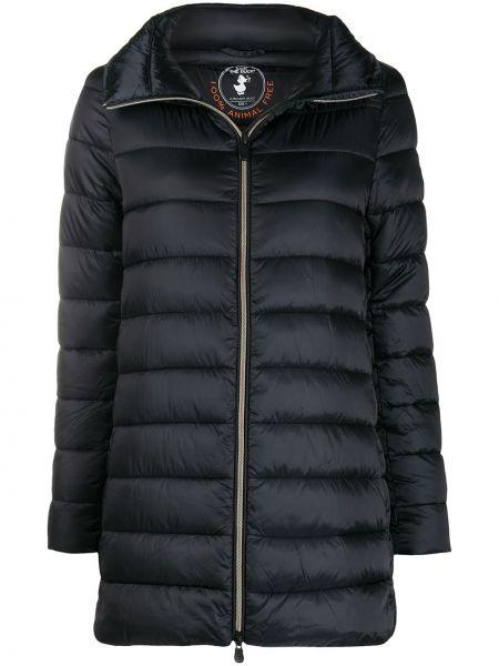 Нейлоновое черное длинное пальто с воротником с карманами Save The Duck