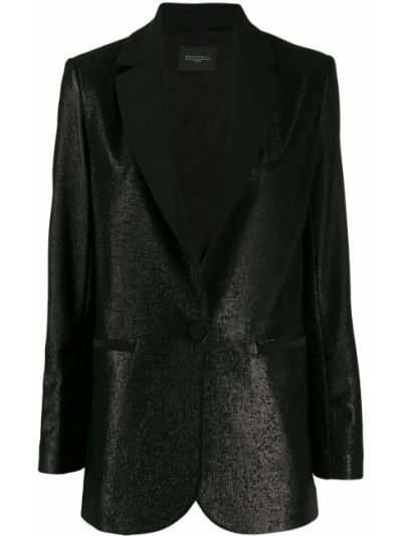 Однобортный черный пиджак с карманами Antonelli