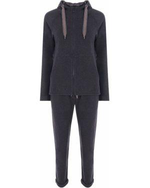 Серый кашемировый спортивный костюм с карманами Brunello Cucinelli