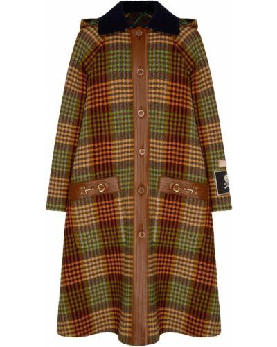 Пальто с капюшоном оверсайз в клетку Gucci