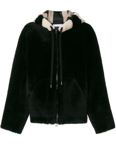 Черное кожаное пальто с капюшоном Inès & Maréchal