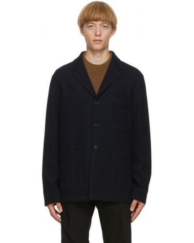 Синий удлиненный пиджак с накладными карманами с воротником Paul Smith