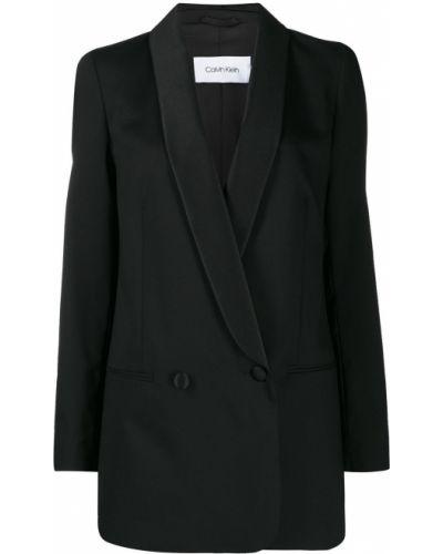 Черный удлиненный пиджак с карманами Calvin Klein