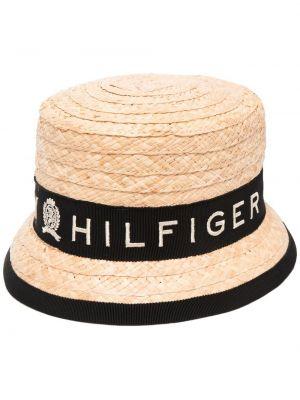 Czarny kapelusz z printem Tommy Hilfiger