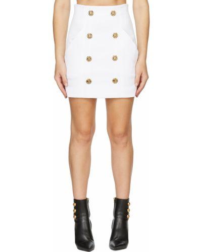 Белая юбка с карманами Balmain