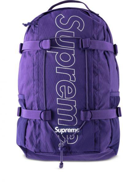 Fioletowy plecak szkolny z printem Supreme