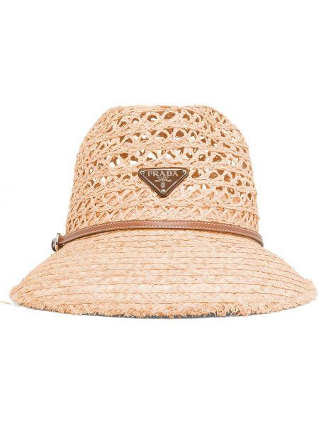 Beżowy kapelusz skórzany Prada