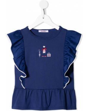 Хлопковая синяя футболка без рукавов Familiar