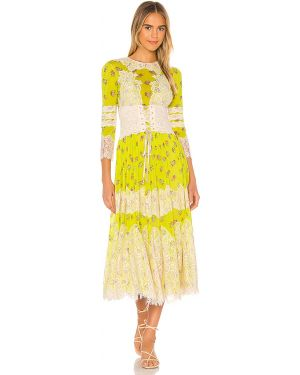 Zielona sukienka koronkowa z siateczką Hah