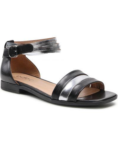 Czarne sandały srebrne Edeo