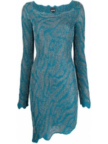 С рукавами синее вязаное платье макси Just Cavalli