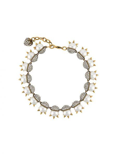 Naszyjnik z perłami szary biały Gucci