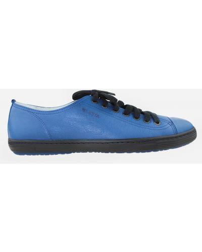 Кожаные кеды - синие Lesta