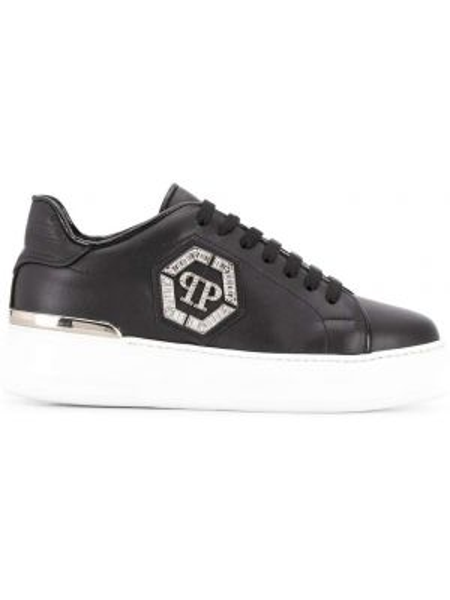 Черные кроссовки на шнуровке металлические Philipp Plein
