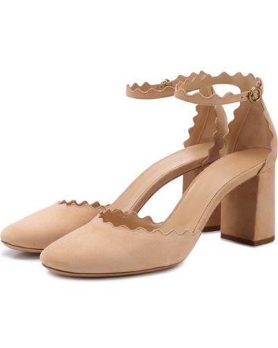 Бежевые туфли с ремешком Chloé