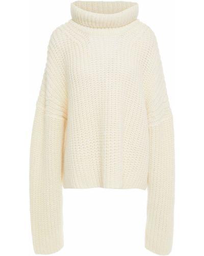 Prążkowany biały sweter wełniany Rodebjer