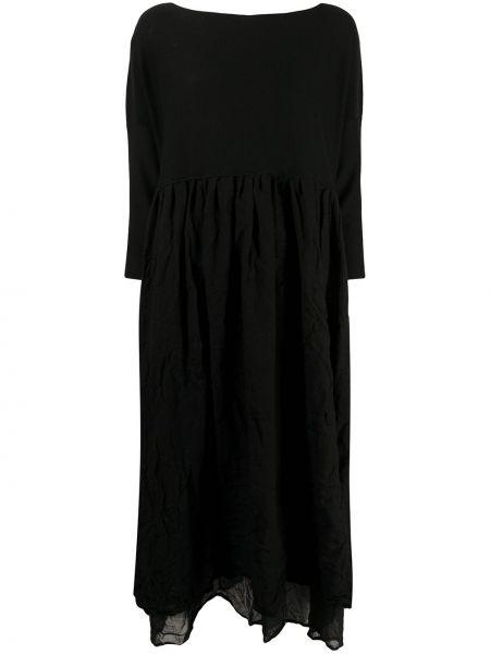 Черное платье свободного кроя с вырезом со вставками Daniela Gregis