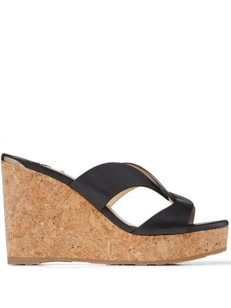Skórzany czarny sandały na platformie Jimmy Choo