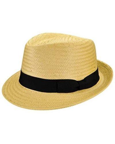 Желтые соломенные шляпа-федора Rozetka