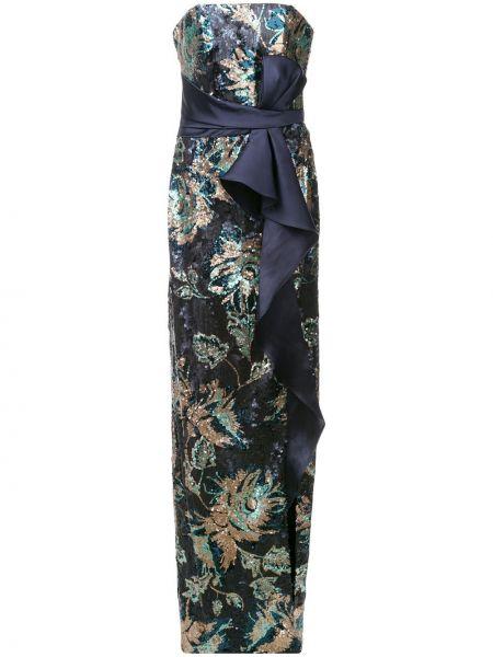Вечернее платье с пайетками синее Marchesa Notte