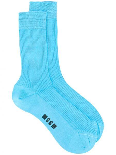 Синие хлопковые носки в рубчик Msgm