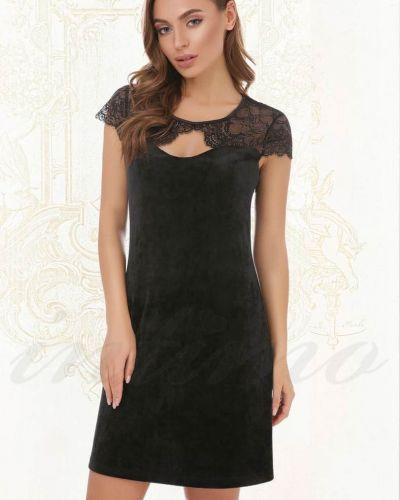 Платье мини с декольте - черное Anabel Arto