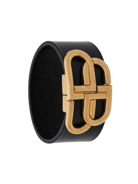 Czarna złota szeroki bransoletka klamry Balenciaga