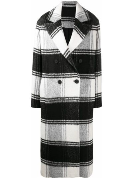 Czarny płaszcz wełniany z printem Allsaints