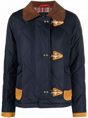 Кожаная куртка длинная - синяя Fay