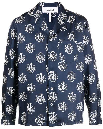 Шелковая черная рубашка с длинными рукавами Soulland