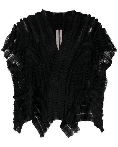 Czarna krótka kurtka krótki rękaw z dekoltem w serek Rick Owens