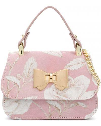 Кожаная розовая сумка на молнии с карманами Monnalisa