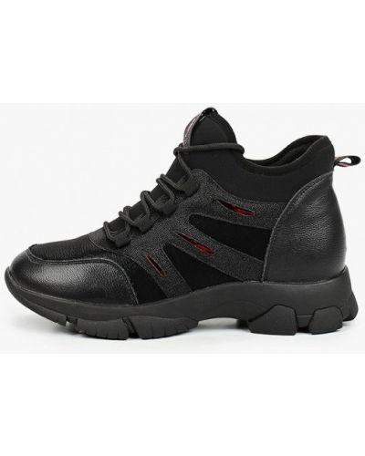 Кожаные черные высокие кроссовки V.i.konty