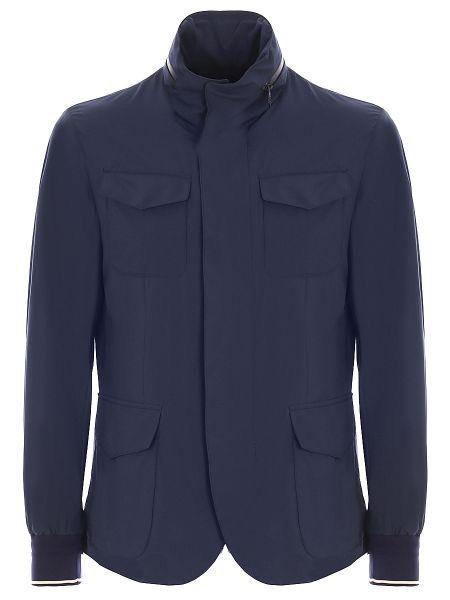 Синяя куртка на молнии с манжетами с карманами Montecore