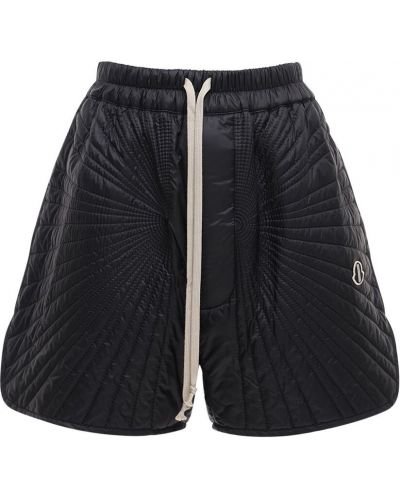 Nylon czarny szorty elastyczny z haftem Moncler + Rick Owens