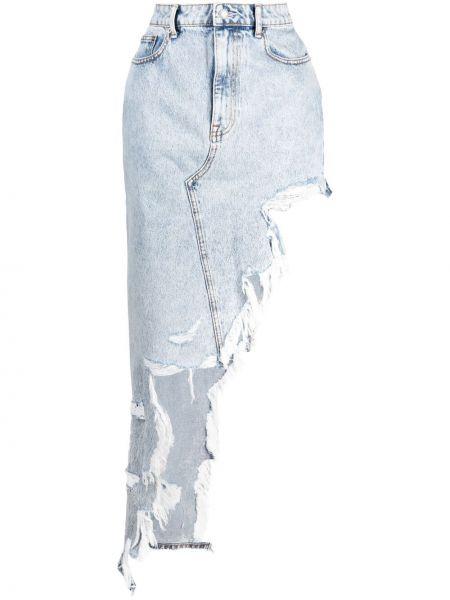 Niebieska spódnica jeansowa asymetryczna na plażę Alexander Wang