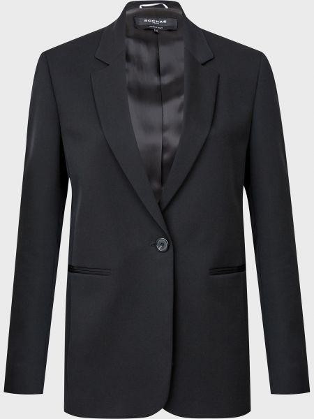 Шерстяной черный пиджак на пуговицах Rochas